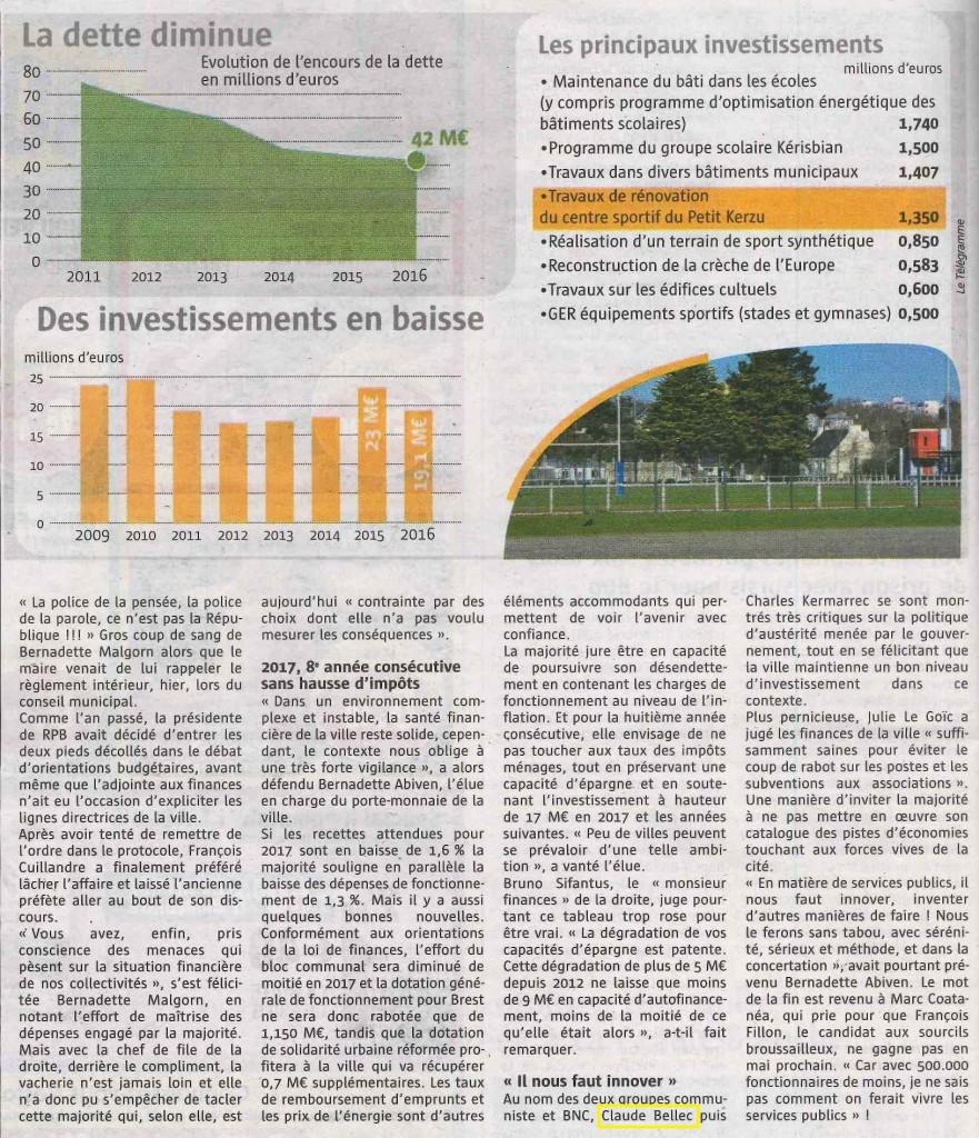 Extrait de l'article du Télégramme du 200117 sur les orientations budgétaires