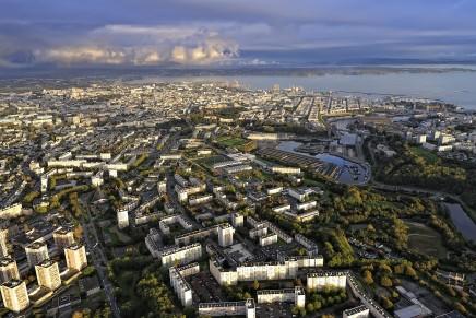 Vue aérienne de Brest et du quartier de Bellevue