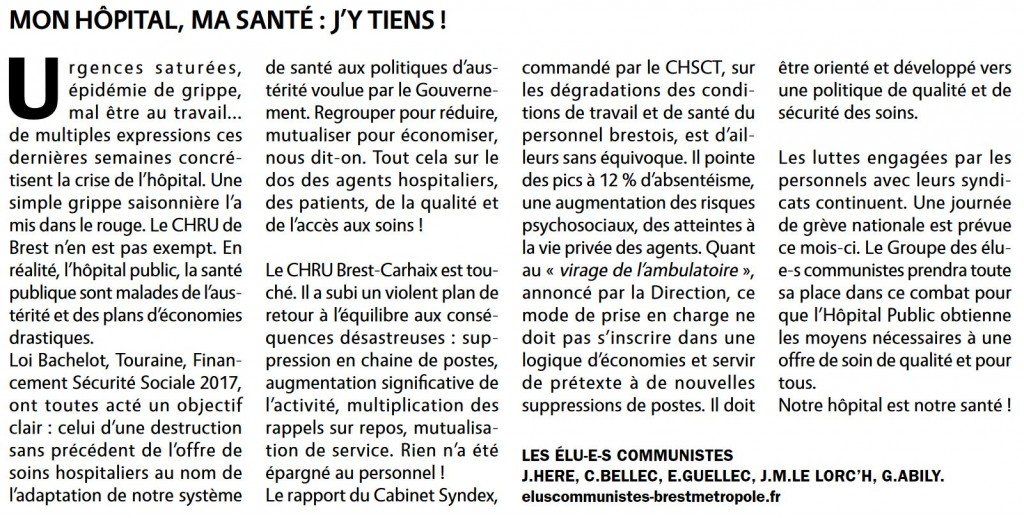 Article sillage hopital