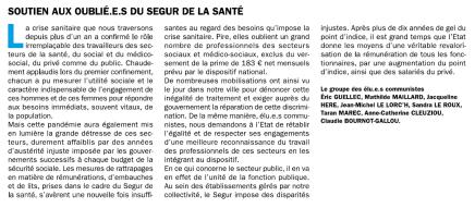 Tribune 237 - Soutien aux oublié.e.s du ségur de la santé
