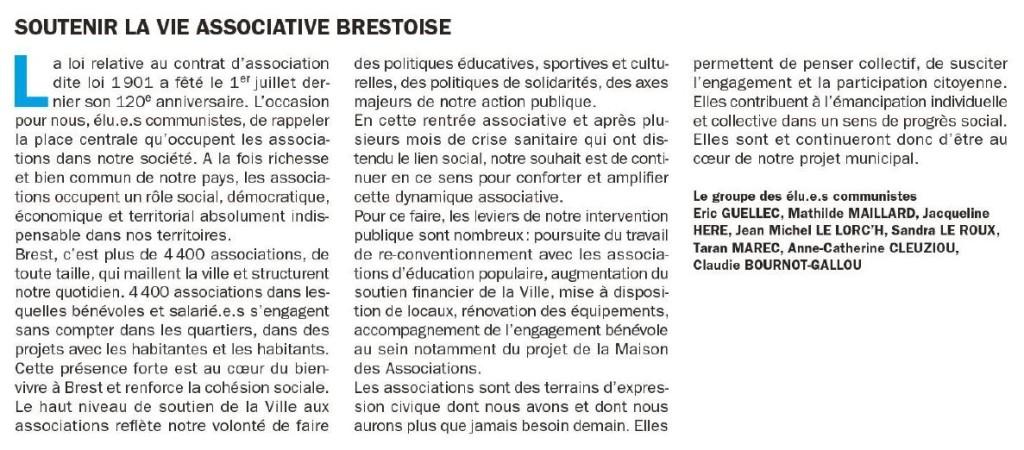 Tribune 239 - Soutenir la vie associative brestoise